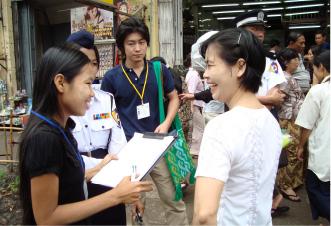 ミャンマーにて都市バス交通サービスに関する住民インタビュー