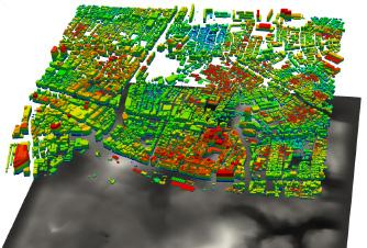 400億自由度の非線形地盤震動解析を用いた41675棟の 建物からなる都市の地震シミュレーション