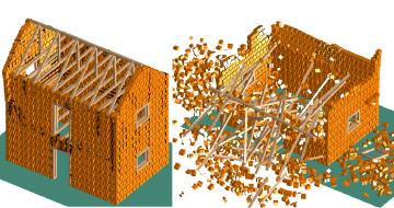 応用要素法による組積造住宅の崩壊過程の数値解析(左:崩壊前、右:崩壊後)