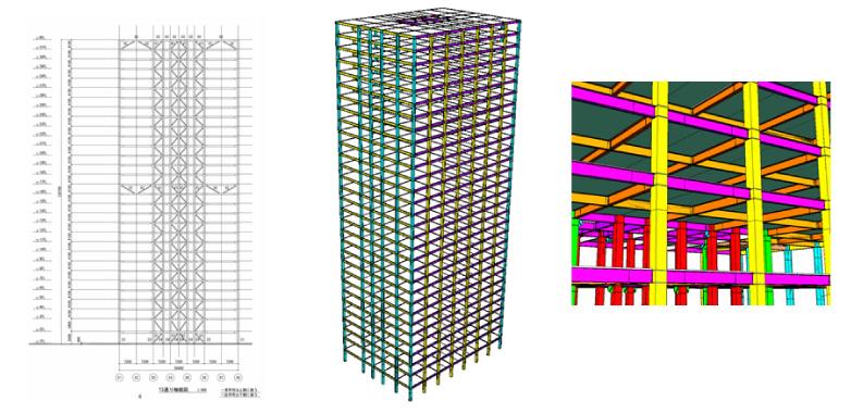 図1:超高層ビルの構造モデリング